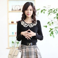 2013 spring slim solid color t-shirt beading long-sleeve o-neck cotton female 100% T-shirt basic top female