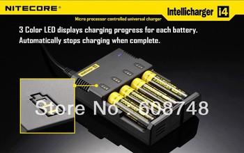 Hot!!Nitecore i4 V2 Intelligent Charger/ Nimh/Nicd/Li-Ion 18650/RCR123  Charger Free shipping