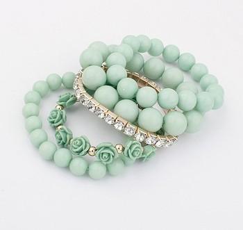 2014 Fashion hot sale vintage multilayer charm bead Rose Flower Pearl bangles bracelets SPX2398