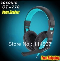 Free Shipping Cosonic 770 Earphone Computer Headset Gaming Headsets with Microphones Fashion