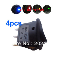 Blue+Red+Green+Amber  Led Dot Light 12V Car Auto Round Rocker ON/OFF SPST Switch