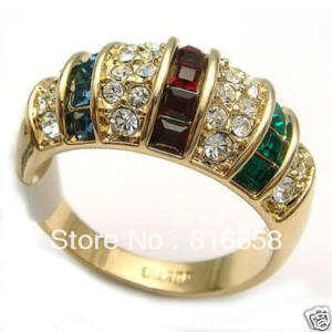 Free shipping@@woman's jewelry Blue ruby green Ring size 8(China (Mainland))