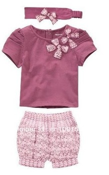 5sets/lot New Arriving AMISSA (pink butterfly beadband+top+lace pants )3pcs Baby Clothing Set Baby Clothes