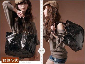 PROMOTIONWomen Fashion Tote Bag PU Leather Handbags 2012 Ladies Shoulder Bags promotion drop shipping
