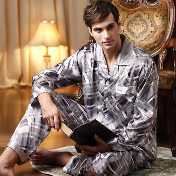 SALE High Quality 2015 Pajamas Men Brand Silk Pijama Men Stripe Sleepwear Men's Pajama Sets Mens Casual Pyjamas Free Delivery