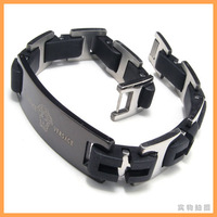 Braided New Fashion Black Leather Bracelet Bangle Men Wristband Silver Stainless Steel Clasp free shipping Wholesale  B079713