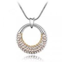 Donuts - full rhinestone simple austria crystal circle necklace