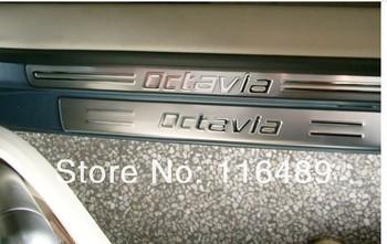 2013 free shipping! Skoda Octavia stainless steel scuff plate door sill 8 PCS