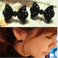 E2113 bow full rhinestone stud earring new arrival 2013 female diamond stud earring accessories
