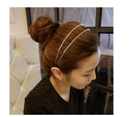 Free shipping wholesale price 1 row crystal headband lady hair band British style headwear hair accessories hair jewelry(China (Mainland))