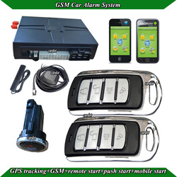 GSM alarm system,SMS start/stop engine,two metal remote,GPS antenna,GSM antenna,bypass module,long push button start,shock alarm(China (Mainland))