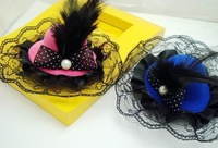 Free shipping  Mixed Color Girls Feather Hairpin,Kids Hair Accessories,Fascinators And Mini Top Hats With Clip Tiaras