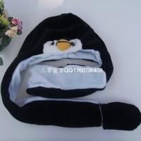 90cm long design penguin cap cartoon animal plush hat scarf gloves