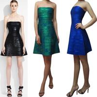 Womens Bandage Dresses Latex Glitter Black Blue Green Pink Color Off The Shoulder Girls Evening Celibrity Club HL 1285