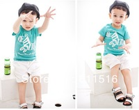 2013 Boy Summer Suit,Free Shipping 5 sets/lot Boy`s Pure Cotton T-shirt  and Pant Suit  ,white and blue color,5 sizes