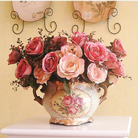 Free shipping decoration imitation Tea rose bowyer silk flower