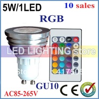 good quality 10pcs/lot Led Spot Light 5W AC/DC12V GU10 E27 MR16 RGB led lamp High Power Colourful Party Club +Free Shipping
