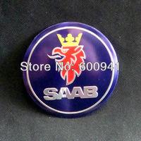 4PCS 55.5MM SAAB Black Car Motor Auto Wheel Rims Center Emblem Sticker Badges
