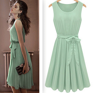 free Shipping 2013 fashion dresses women western style chiffon sleeveless silm casual dress light green summer drop shipping(China (Mainland))