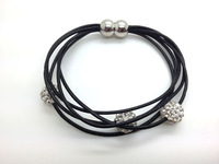 FREE Shipping Wholesale 5pcs/lot  Genuine Leather Shamballa Bracelet Crystal 10MM Beaded Magnetic Clasps Clay Bracelets