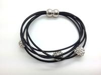 FREE Shipping Wholesale 5pcs/lot  Genuine Leather Shamballa Bracelet Crystal 10MM Beaded Magnetic Clasps Clay Bracelets