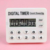 Free Shipping,2pcs/lot,Digital LCD Kitchen Chef Count down / Up Timer Alarm,can sets 1 second to 100 hours + English Manual