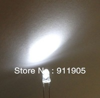 freeshipping 100pcs/lot 3mm Ultra Bright Pure white LED Diode Round Water Clear Cool White Color 3.2-3.4v long leg LED diodes