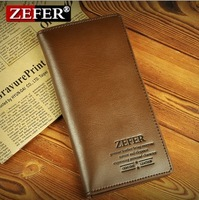 3 Colors ZEFER Brown Black Genuine Leather Hand Bag Wallet Real Purse Day Clutch Card for men man Money 3 fold folding luxurious