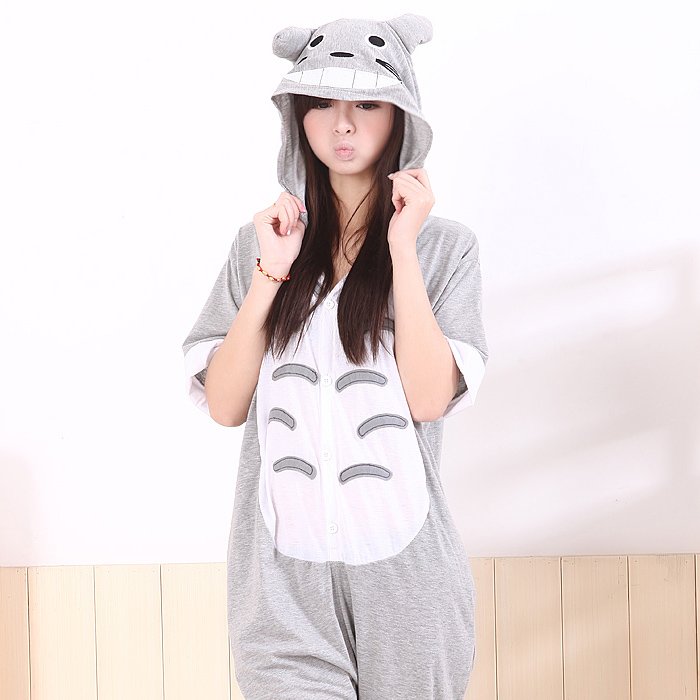 2013 Summer Animal Pajamas One-piece Totoro Short-sleeve Lounge Wear Family Cosplay Cartoon Sleepwear Costume Robe PL0004(China (Mainland))