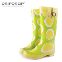 Women's polka dot fashion jelly high rainboots rain boots water shoes