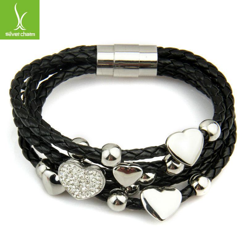 2015 New Fashion Leather Wrap Woven Heart Crystal Bracelet Black for Women Men Handmade Stainless Steel Man Jewelry XCJ0694(China (Mainland))