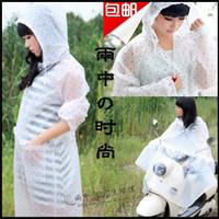 Fashion transparent polka dot women's adult battery electric bicycle raincoat poncho