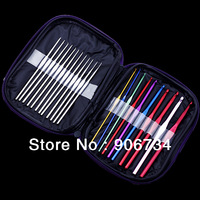 Free Shipping 22pcs Multi-colour Aluminum Crochet Hooks Needles Knit Weave Craft Tool Set Case