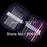 Free Shipping 22pcs Multi-colour Aluminum Crochet Hooks Needles Knit Weave Craft Tool Set Case