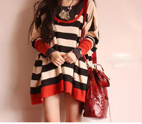2013 new style spring women's plus size square hole loose wide stripe t-shirt 1pc free shipping