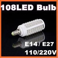 20pcs/lot Ultra bright LED bulb 7W E14 220V Cold White light LED lamp with 108 led 360 degree Spot light H4137