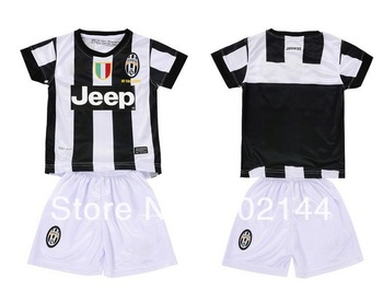 kids gift! 12/13 Juventus home white thai quality kids soccer football jersey+shorts kits,size:16-28