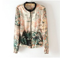 wholesale,2013 new fashion women jacket , Ink Painting vintage print thin jackets , casual zipper cardigan