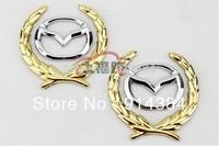Used For Mazda series general Side Mark Car Chrome Metal Badge Emblem (8*6CM)(1pcs is 2 items)