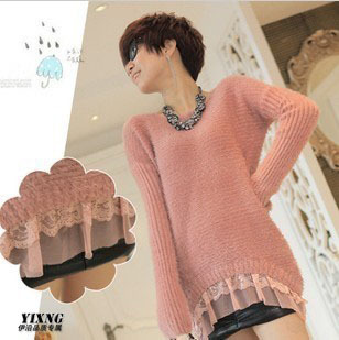 2012 autumn and winter women pink lace tuxedo elegant pullover sweater(China (Mainland))