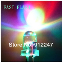 100pcs/lot FAST 5mm Ultra Bright Pure emitting Diode round seven color allochroism rgb led light tube Automatic Flash LED diodes
