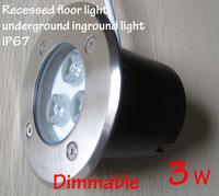 Dimmable inground led light,in ground lamp,3W 12v 24v,100-240v,outdoor recessed floor lights Waterproof underground led lights