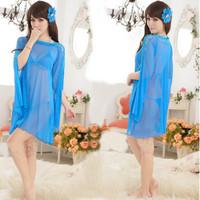 Эротическая одежда Women Long Lace Robes Kimono Sleeping Dress Nightwear Nightgown Baby Dolls Exotic Apparel Ladies Sleepwear 394