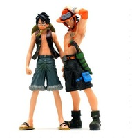 Good quality! One piece  Luffy + Ace brothers ( a pair ) action figure  height 17-18cm  PVC+ABS  anime toys 14247504