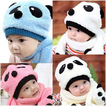 Baby Toddler Kids Winter Warm Velvet Panda Bear Scarf Wrap + Hat Beanie Cap Set   000103