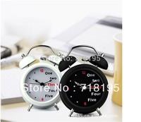 Free shipping English digital twin bell alarm clock 3 inch retro clock mute with lamp/Lazybones Alarm Clock