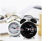 Free shipping English digital twin bell alarm clock 3 inch retro clock mute with lamp/Lazybones Alarm Clock