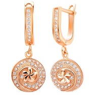 New arrival ! fashion jewelry 18k gold / platinum plated zircon flowers earrings  GJW-330