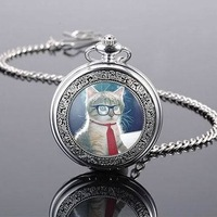 Free shipping Hot Sale Classical Vintage Quartz Silver Tone Chain Elegant Cute Cat Pocket Watch Woman Men Best Gift