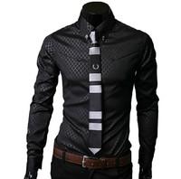 2013 fashion Men's shadow style formal dress shirt